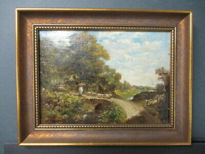 19th CENTURY OIL ON WOOD PANEL c1840 ATTRIBUTED to F. W. WATTS Landscape sheep