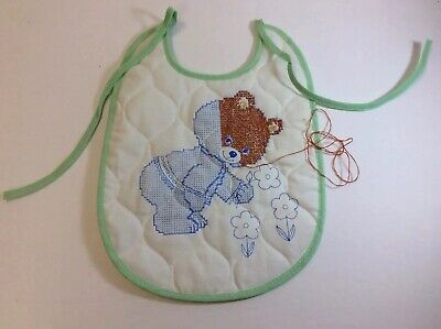 Vintage Pre-Stamped Embroidered Baby Bib Unfinished Thread