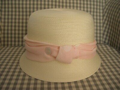 Christian Dior Girls Woven HatSummer Pink Spotty Ribbon size 3 8-12 years old
