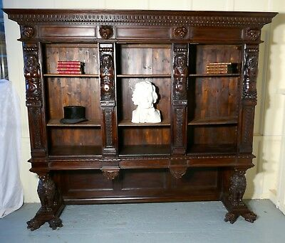 Large Walnut Open Bookcase, Carved with Lion Caryatid and Ancient Gods, 1800
