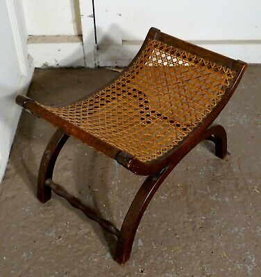 19th Century French Oak X Frame Stool, with Flat Bergere Seat