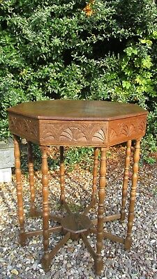 Antique Arts and Crafts centre table-carved oak