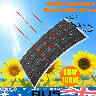 18V 100W Flexible Solar Panel Outdoor Battery Power Charger for Car Boat Camping