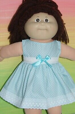 "16"" CABBAGE PATCH Dolls Clothes / aqua with white spots / DRESS & KNICKERS"