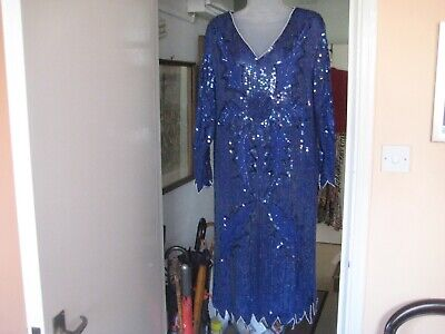 Vintage sequin /pearl beaded dress royal blue 40'' bust 1980's