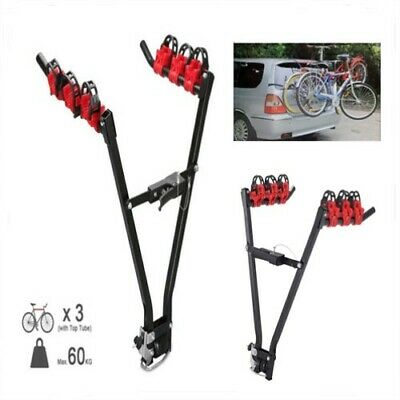 Heavy 3 Bike Tow Bar Carrier Car Mount Cycle Bicycle Tow Bar Clamps Rear Rack UK