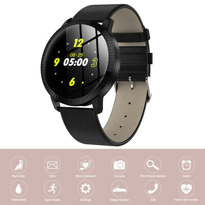 CF18 Black Fashion Leather Strap Smartwatch Bracelet Step Calorie Counter AC1853