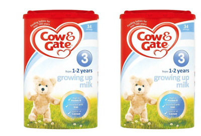 2 x Cow and Gate 900g 1-2 Years Growing Up Milk Powder, Stage 3 - BBE = 19.06.19