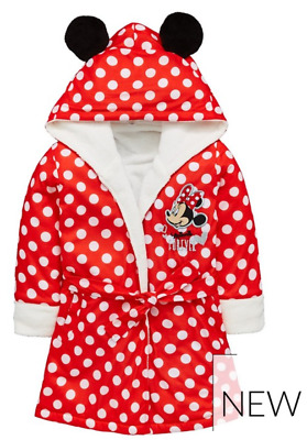 Disney Minnie Mouse: Dressing Gown With 3D Ears,2/3,3/4,4/5,5/6,7/8Yr Nwt