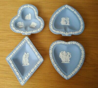 Set of 4 Wedgewood Jasper Ware Dishes Hearts, Clubs, Diamonds & Spades