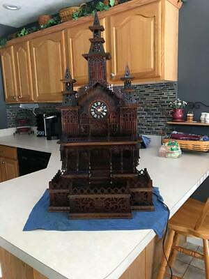 "Amazing 34"" Tall Wooden Mantle Cuckoo Style Church Temple Building Clock"