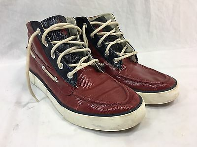 POLO RALPH LAUREN LANDER CHUKKA Mens 8.5 D RED BLUE Sneakers Shoes COATED CANVAS
