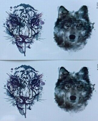 WOLF and TIGER TEMPORARY TATTOO x 2 sheets *BEAUTIFUL DETAIL* festival, wildlife