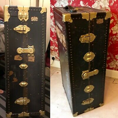 Collectable Pair Fitted Metal Steamer Trunk Wardrobe Drawers Wooden Hanger 1900c