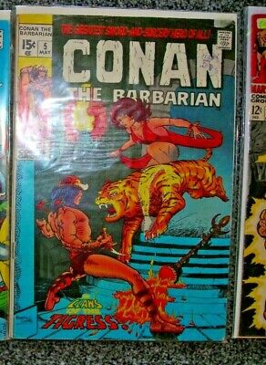 Conan the Barbarian #5 Marvel comic May 1971 VGFN BARRY SMITH 15 CENTS, UK STAMP