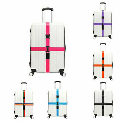 Adjustable Luggage Straps with Lock Suitcase Travel Baggage Belt Cross Style