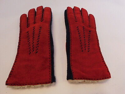 Aris Ladies Redwith Navy Blue Suede Winter Gloves Acrylic Pile Lining Size Small