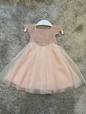 Monsoon Baby Girl Pink Sparkly Tulle Dress Size 0-3 Months RRP £40