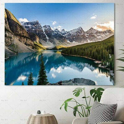Lake Mountain Landscape Canvas Painting Wall Art Picture Poster Print Home Decor