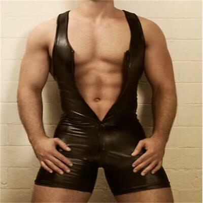 ce1b08ecd6d Sexy GAY Men s Bondage Fetish Black Stretch PVC Look Latex Spandex jumpsuit  L973