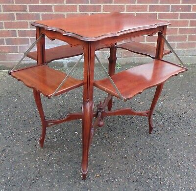 Victorian antique solid mahogany 4 flap metamorphic occasional lamp side table