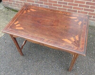 Antique George III & later mahogany pine inlaid country house console hall table