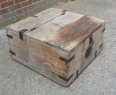 Victorian antique military campaign style solid elm iron bound farm box coffer