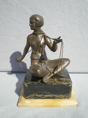 sculpture art deco 1920 LIMOUSIN statue femme en regule bronze vintage 20s woman