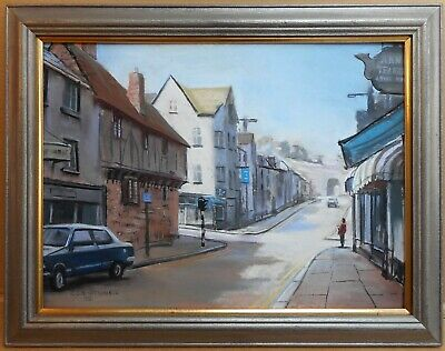 Castle Street Conwy. Pastel by listed artist Christopher Assheton-Stones PS 1995
