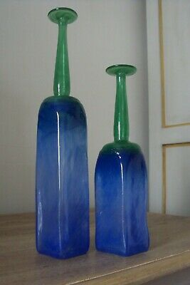 Vintage Scandinavian Danish Leif Vange Signed Pair of Bottle Vases Blue/Green.
