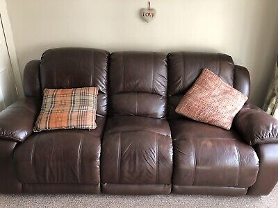 3 piece suite, brown faux leather (manual recliners)