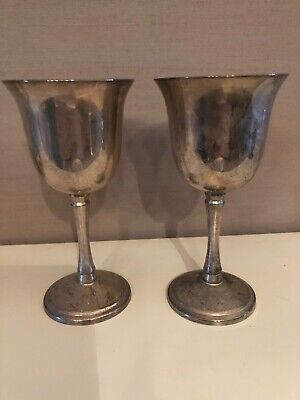 Pair Silverplate  Wine Goblets/cups