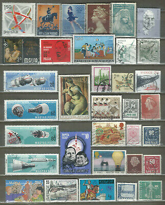 Worldwide 34 Different Used Stamps Lot Collection (217)