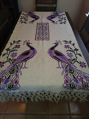 Vintage Boho 60's Purple Peacock Table Cloth Runner Macrame Burlap