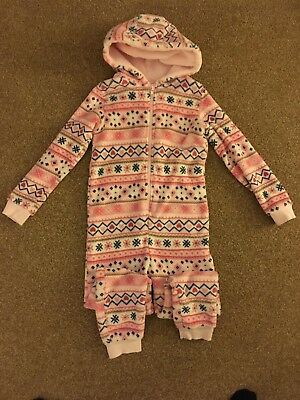 Girls, Matalan, Pink/White, Nordic Design, Zipped, Hooded, Jumpsuit. Age 7years