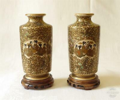 Good Pair Of Antique 19Th Century Japanese Satsuma Vases Signed Hotoda Shimazu