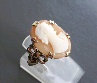 Antique Old Vintage Solid 9ct Yellow Gold Shell Cameo Ring Bow J 1/2 - Not Scrap