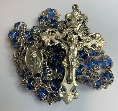 "† Gigantic Wedding Vintage Sterling Blue Double Capped Rosary 36"" 96.42 Grams †"