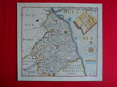 A Framed Map of Northumberland. Christopher Saxton - William Hole 1610