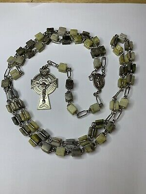 "† Enormous Vintage Connemara Marble Irish Erin Celtic Green Cube Rosary 35"" †"