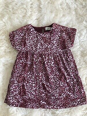 New Zara Girls Kids Pink Burgundy Floral Soft Velveteen Tunic Dress Size 5