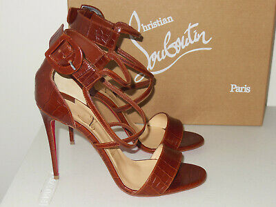 5db89490cd8 CHRISTIAN LOUBOUTIN BROWN Choca 100 Croc-Embossed Leather Sandals Size 39