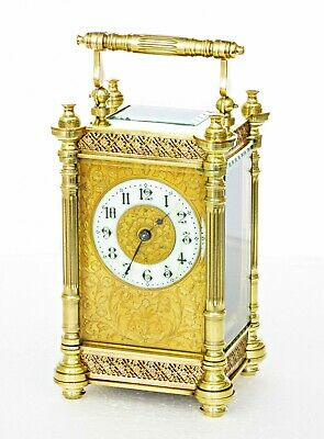 Antique Couaillet Freres French Carriage Clock, Filigree, Fitted Case, Serviced