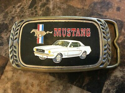 PH13102 VINTAGE 1966 Ford MUSTANG CAR COMMEMORATIVE SOLID BRASS BELT BUCKLE