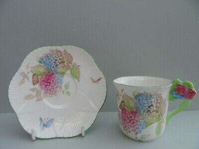 """Shelley floral handle """"Hydrangea"""" Dainty shape demitasse/coffee cup & saucer."""