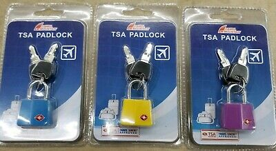 TSA Approved Padlock Best Keyed Luggage Lock mix color 3 pack