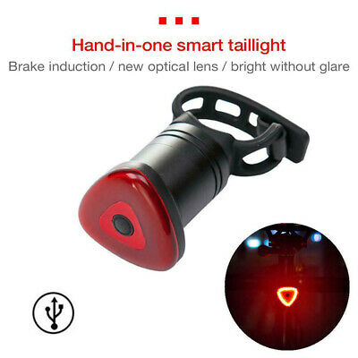 Cycling Safety Bike Bicycle Tail Rear Brake Light Lamp USB Interface Charging