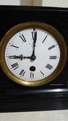 ANTIQUE FRENCH BLACK SLATE & MARBLE MANTLE CLOCK Richard & Co Movement R&Co