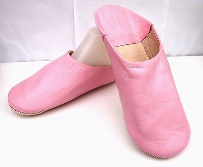 Very Soft 100% Leather Slippers / Mules * Pink