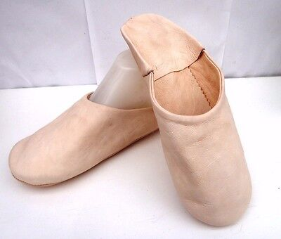 Very Soft 100% Leather Slippers / Mules * Beige